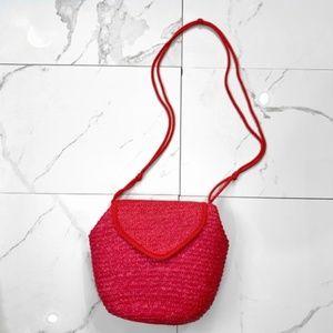 Red Straw Woven Cross Body Bag